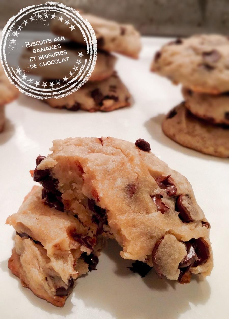 Biscuits aux bananes et brisures de chocolat - Auboutdelalangue.com