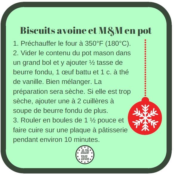 Étiquette biscuits avoine et M&M