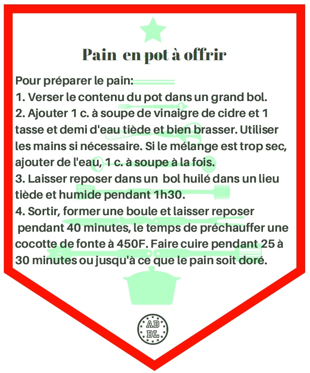 Étiquette pain en pot
