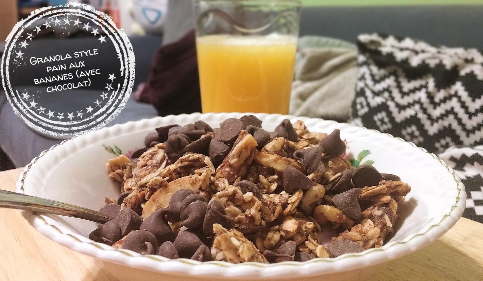 Granola style pain aux bananes (avec chocolat) - Auboutdelalangue.com