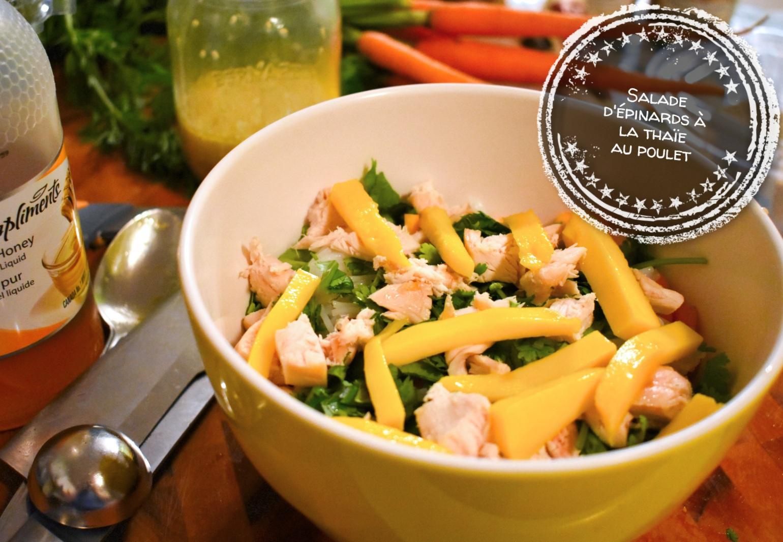Salade d'épinards à la thaïe au poulet - Auboutdelalangue.com