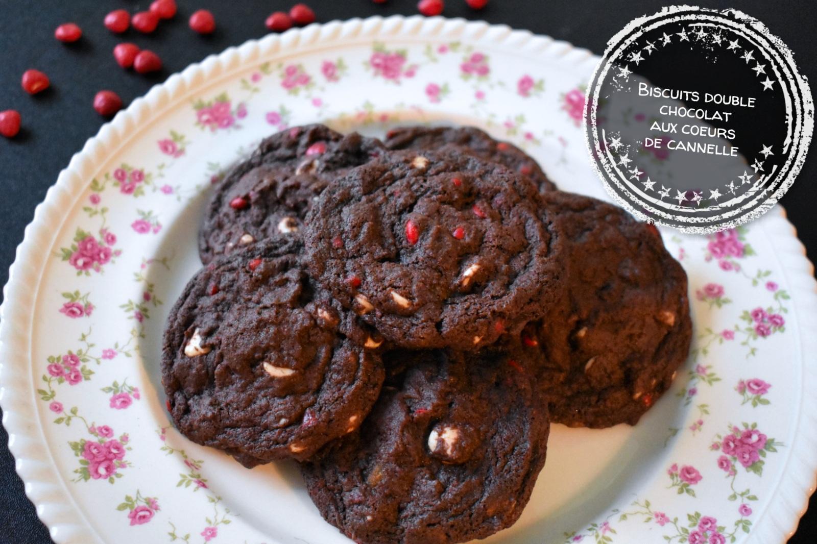 Biscuits double chocolat aux coeurs de cannelle - Auboutdelalangue.com